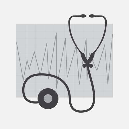 Grayscale ECG and Stethoscope  isolated in white