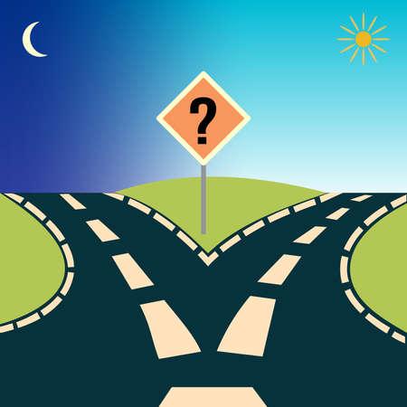 Gevorkte Road, beeltenis van het concept: keuzes of het kiezen