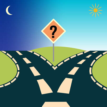 Forked Road, depicting the concept: choices or choosing Illustration