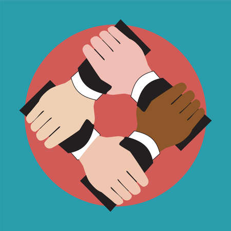 Illustration of hands holding each other showing unity Vector