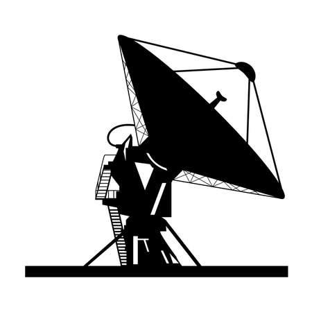 radio beams: Silhouette satellite dish vector Illustration