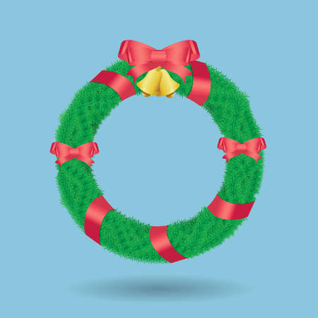 pine boughs: Christmas wreath of holly berry, fir,  bell and red ribbon