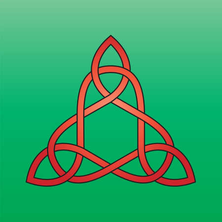 Celtic endless knot red on a green background Stock Illustratie