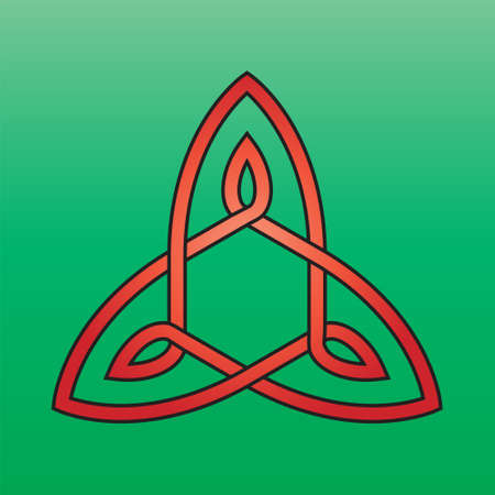 triquetra: Celtic endless knot red on a green background Illustration