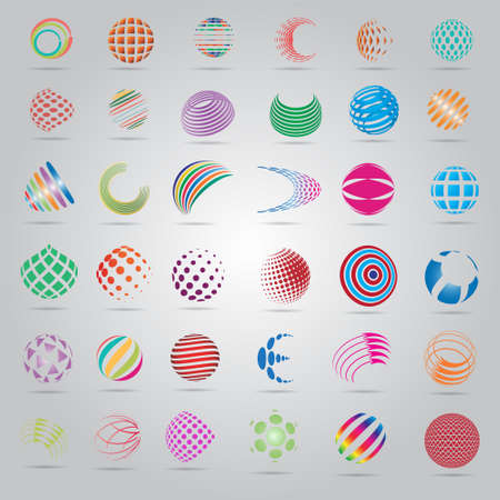 Sphere Icons Set - Isolated On Gray Background - Vector Illustration, Graphic Design Editable For Your Design, Flat Icons Vettoriali
