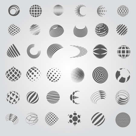 world group: Sphere Icons Set - Isolated On Gray Background - Vector Illustration, Graphic Design Editable For Your Design, Flat Icons Illustration