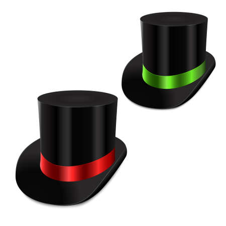 green tophat: Set of gentleman hat cylinder with ribbon. Vector Illustration Isolated on white background.