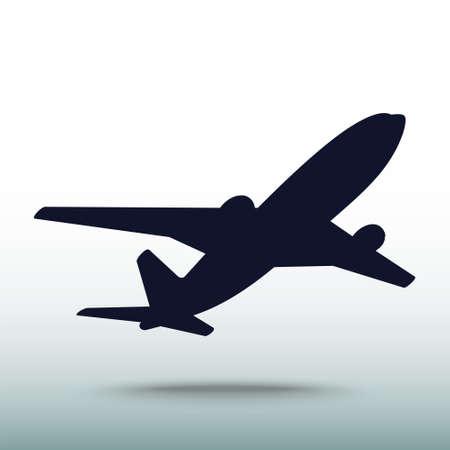 飛行機アイコン、ベクトル図です。フラットなデザイン スタイル
