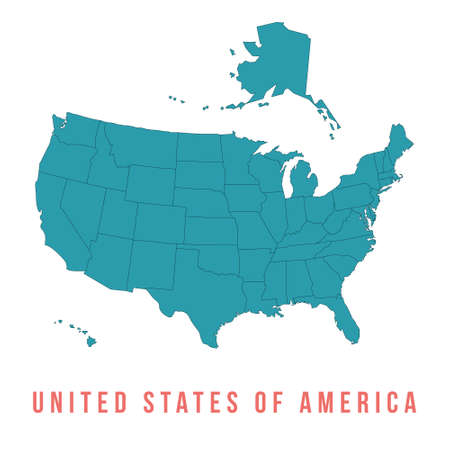 Map of USA with separable borders, isolated in white background