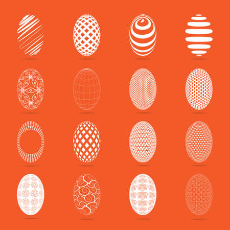 oblong: Illustration of sixteen easter eggs on a orange background