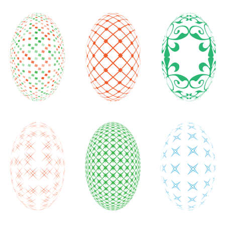 canvass: Illustration of six easter eggs on a white background Illustration