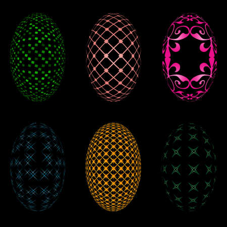 canvass: Illustration of six easter eggs on a black background Illustration