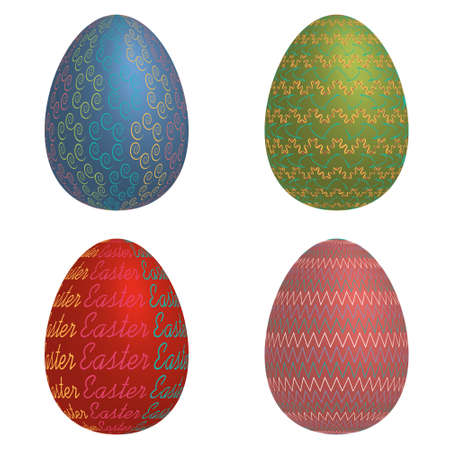 canvass: Illustration  easter eggs on a white background
