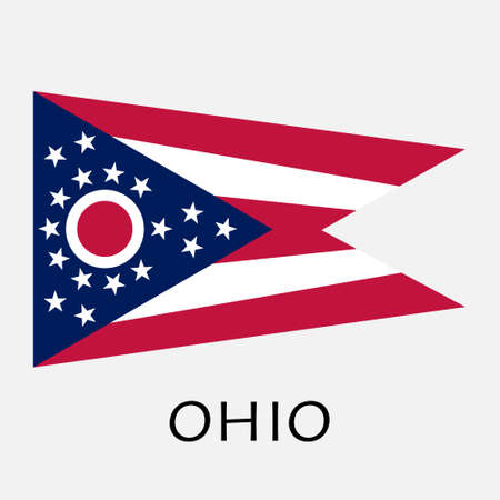 midwest: Ohio state flag of America, isolated on white background. Illustration