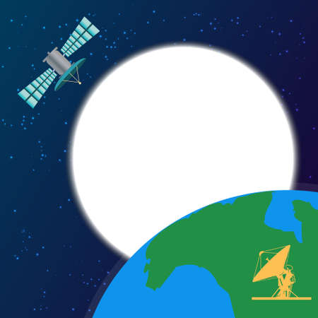 orbiting: Colorful illustration with space satellite orbiting above the earth