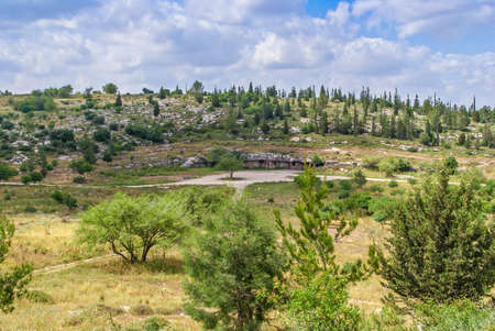 banias: Israel landscape, forest, mountains with cave in Israel. Modiin Stock Photo