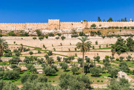 Golden gates of Jerusalem on the east wall of the old town photo