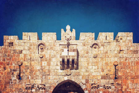 protection of the bible: Lion Gate of the ancient wall surrounding the Old City of Jerusalem Stock Photo