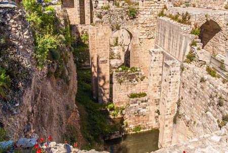 Oude Pool van Bethesda ruïnes. Oude Stad van Jeruzalem, Israël.