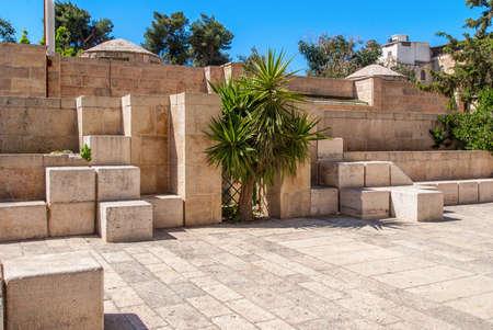 Stone streets of ancient Jerusalem, Israel photo