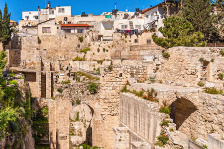 bethesda: Ancient Pool of Bethesda ruins. Old City of Jerusalem, Israel. Stock Photo