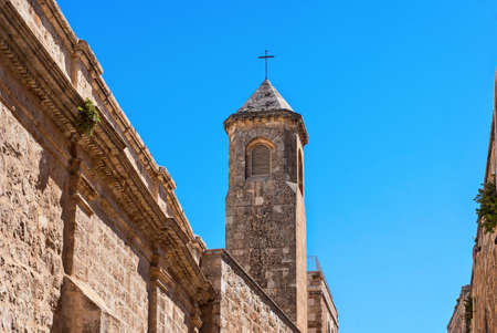 flagellation: Church of the Flagellation Tower, Station II on Via Dolorosa, Jerusalem Old City. Taken in Way of The Cross.