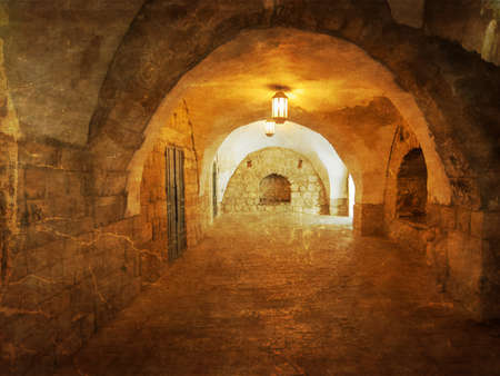 jewish home: Ancient Alley in Jewish Quarter, Jerusalem. Israel. Photo in old color image style. Stock Photo