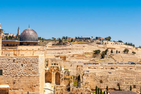 Jerusalem - View on the Mount of Olives from Al-Aqsa mosque photo