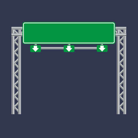 Blank green traffic road sign on black 일러스트