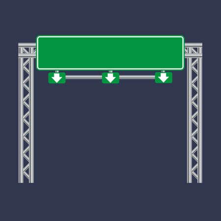 Blank green traffic road sign on black Illustration