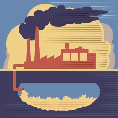 Vervuiling concept. Industriële verontreiniging illustratie, de fabriek rook uit de schoorsteen en de lucht- en bodemverontreiniging Stock Illustratie