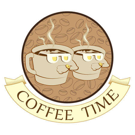 Coffee time, coffee break, funny coffe cup.Comic characters. Illustration