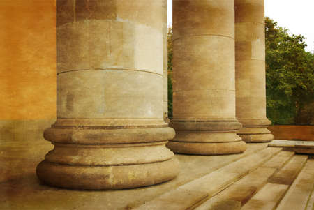 Stone Pillars in a Row. Photo in old color image style.