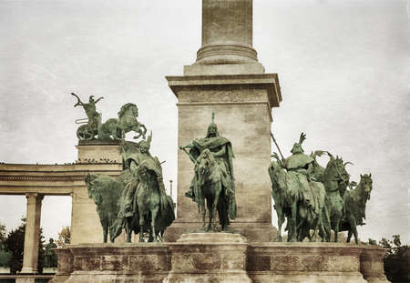 predecessor: Heroes square in Budapest, a square dedicated to the hungarian kings. Photo in old color image style. Stock Photo