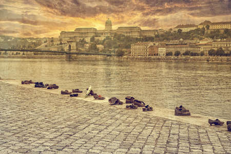 jewish people: BUDAPEST, HUNGARY - October 12: Iron shoes memorial to Jewish people executed WW2 in Budapest Hungary on October 12, 2015