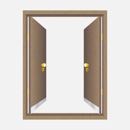 doorhandle: Wood open door with frame. Isolated on background Illustration