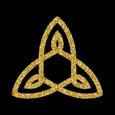 celtic symbol: Golden glittering icon template in Celtic knots style on black background. Triangular symbol. Gold ornament for jewelry design.