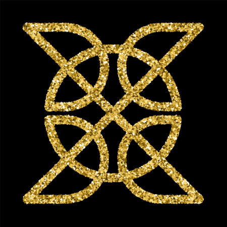 celt: Golden glittering template in Celtic knots style on black background. Gold ornament for jewelry design. Illustration
