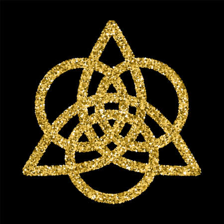 Golden glittering template in Celtic knots style on black background. Triangular symbol. Gold ornament for jewelry design. Stock Illustratie