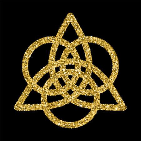Gouden glinsterende template in Keltische knopen stijl op een zwarte achtergrond. Driehoekige symbool. Gouden sieraad voor het ontwerpen van sieraden.