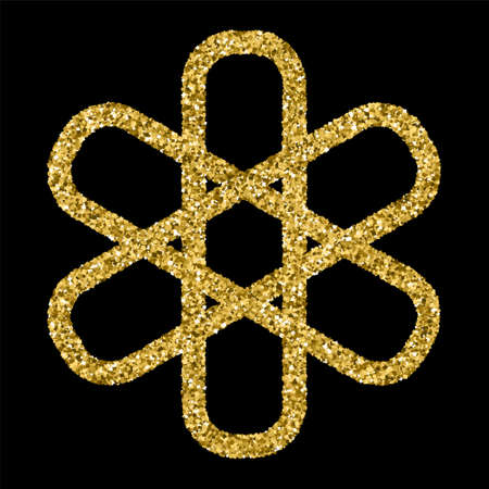 celtic symbol: Golden glittering template in Celtic knots style on black background.  Tribal symbol . Gold ornament for jewelry design.