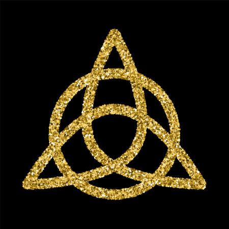 Golden glittering template in Celtic knots style on black background. Triangular symbol. Gold ornament for jewelry design.