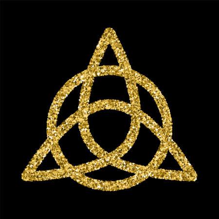 keltische muster: Goldene glitzernde Vorlage im keltischen Knoten-Stil auf schwarzem Hintergrund. Dreieckssymbol. Goldverzierung für Schmuckdesign.