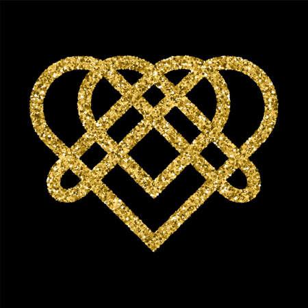 celtic symbol: Golden glittering template in Celtic knots style on black background. Triangular symbol. Gold ornament for jewelry design. Illustration