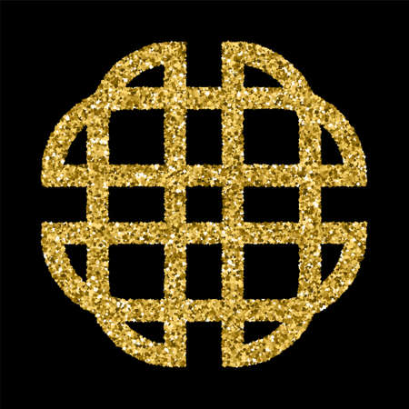 celt: Golden glittering template in Celtic knots style on black background.  Tribal symbol . Gold ornament for jewelry design.