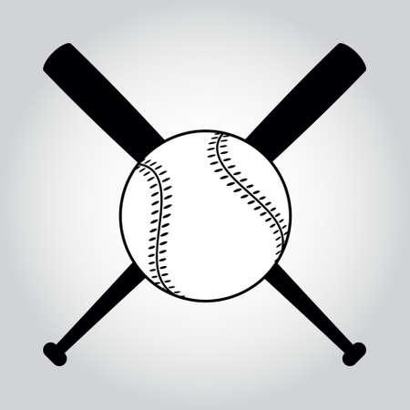 검은 색과 흰색 야구 배트와 공을 건넜다. 그림은 흰색에 고립