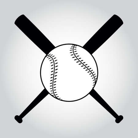 Zwart en wit gekruiste honkbalknuppels en bal. Illustratie geïsoleerd op wit