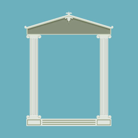 doric: Antique marble temple front with ionic columns, illustration