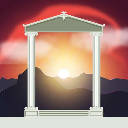 Ancient temple au coucher de soleil fond.