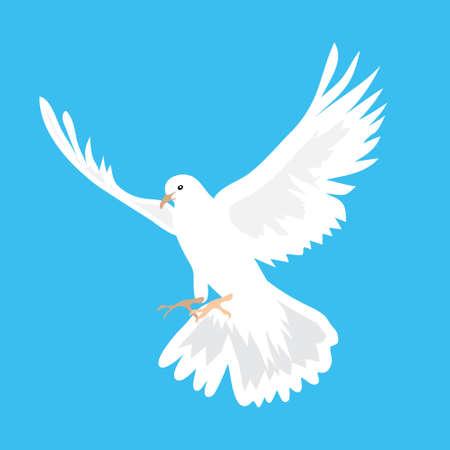 dove flying: illustration of beautiful white dove flying way up in a blue sky Illustration